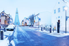 Old street of downtown Reykjavik at twilight. Royalty Free Stock Image