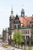 Old Street in Dresden. View of the Cathedral Stock Photo