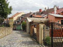 Old street. In Europe in Czech Republic Royalty Free Stock Photography