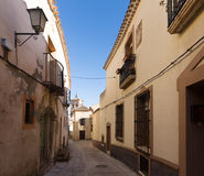 Old street in european city. Chinchilla de Monte-Aragon Royalty Free Stock Photography