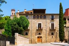 Old  street of european city.  Girona Royalty Free Stock Photo