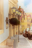 Old street of european town. Beautiful old street with lanterns in european town, Rothenburg ob der Tauber, Germany Royalty Free Stock Photos