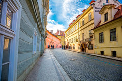 Old street with famous beer restaurant in Prague Stock Images