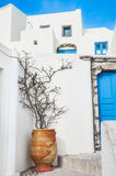 Old street in Fira town Stock Photos