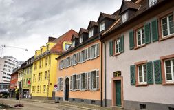 Cityscape of an old street at Freiburg im Breisgau Germany Royalty Free Stock Images