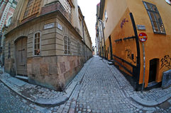An old street in the Gamla Stan (The Old Town) area of Stockholm. Sweden. January 06, 2013 Stock Photos