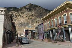Old street in Georgetown. GEORGETOWN, COLORADO, UNITED STATES - OCTOBER 28,2017:Oldest streets the historic Town and business district  of Georgetown, Colorado Royalty Free Stock Image
