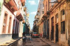Old street of Havana in Cuba, Caribbeans stock images