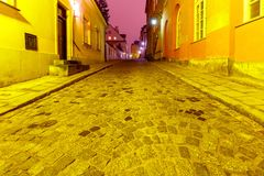 Warsaw. Street in the old city at night. Stock Photos