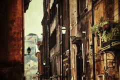 Old street of the historic center of Rome stock image