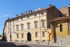 Old street of historic city centre. Piacenza Stock Photo