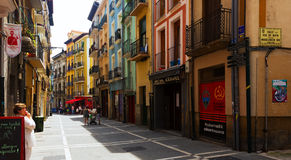Old street in historic part of Pamplona. Navarre, Spain Stock Image