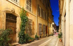 The old street in the historic quarter Panier of Marseille in South France at night