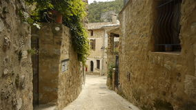 Old street at historic St Guilhem le Desert, Cevennes France stock video