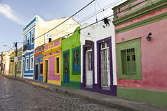 Old street in historic town Olinda Brazil Royalty Free Stock Photo