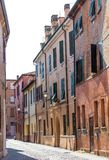 Old street in historical center of Ferrara, Italy Royalty Free Stock Images