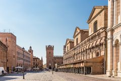 Old street in historical center of Ferrara, Italy Stock Photography