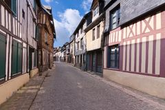 Old street at Honfleur, Normandy, France stock photo