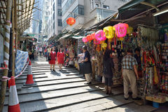 Old Street in Hong Kong. Pottinger Street is an old street in Central, Hong Kong, also known as the Stone Slabs Street because of the granite stone steps Stock Image