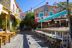 Old street and house in Alacati Royalty Free Stock Photography