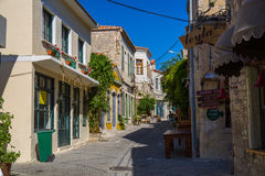 Old street and house in Alacati Stock Image