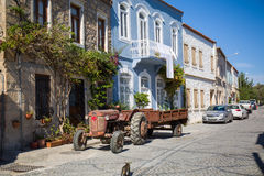 Old street and house in Alacati Stock Photos