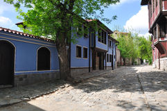 Old street houses. Old street and houses in Bulgaria Royalty Free Stock Image