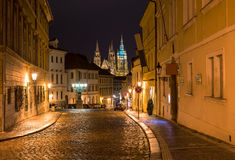 Old street of Hradcany in Prague at night Royalty Free Stock Photos