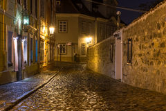 Old street of Hradcany in Prague at night Stock Photos