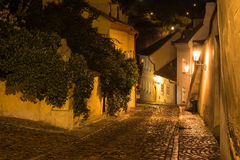 Old street of Hradcany in Prague at night Royalty Free Stock Images