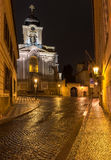 Old street of Hradcany in Prague at night Stock Photo