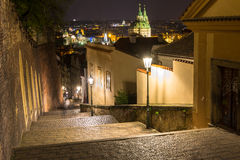 Old street of Hradcany in Prague at night Stock Image