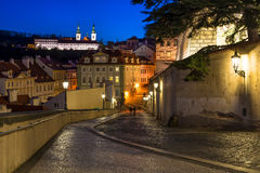 Old street of Hradcany in Prague at night Royalty Free Stock Image