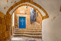 Old street of Jaffa, Israel. Royalty Free Stock Images