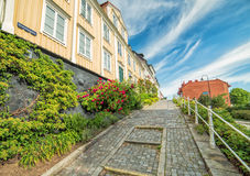 Old street in Karlshamn in summer scenery Stock Photography