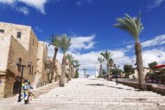 The old street Kikar Kedumim of Jaffa Stock Image