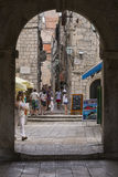 Old street in Korcula Stock Photo