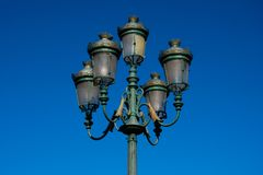 Old street lamp on City Hall Square. Bilbao, Spain stock photography