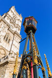 Old street lamp in front of the famous Westminster Abbey Stock Photos
