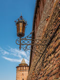 The old street lamp, Kolomna. The old street lamp and part of the walls of the Kolomna Kremlin royalty free stock images