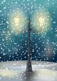Old street lamp. Sign and snow can easily be removed Royalty Free Stock Images