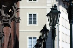 Old Street Lamps. Line old Lamps on the street in Prague Stock Photo