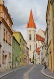 Old street leading to St. Nicholas Church, Znojmo, Czech republic Royalty Free Stock Photos