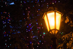 Old Street light night. Background Royalty Free Stock Photo
