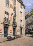 Old street in Lisbon downtown. Stock Images