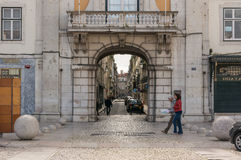 Old street in Lisbon downtown Royalty Free Stock Image