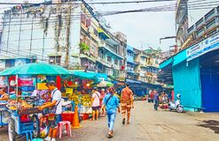 The old street of Mahanak Fruit Market, Bangkok, Thailand