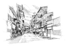 Old street market. Rough sketch of the old street market Royalty Free Stock Photos