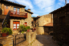 Old street in medieval Catalan village. Rupit, Catalonia Royalty Free Stock Image