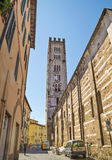 Old street in medieval fortress  of Lucca Royalty Free Stock Images